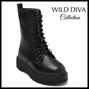 BLACK LACE UP ANKLE BOOTIES COMBAT MOTO BOOTS A3C